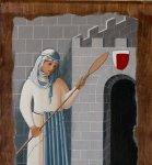 Il disegno della fornarina è stato eseguito su tavola dal pittore sanginesino Eno Panichelli.